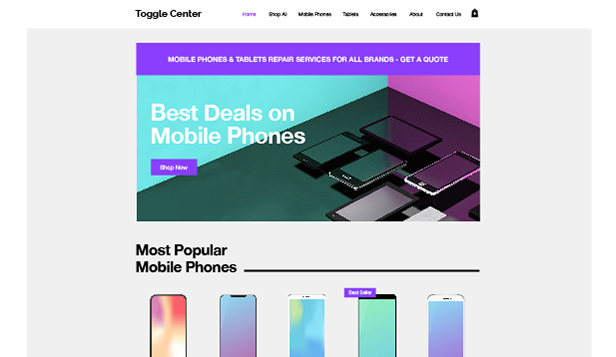 Elektronik website templates – Mobil & Tablet webshop