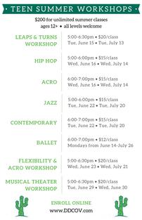 Teen Summer Workshops