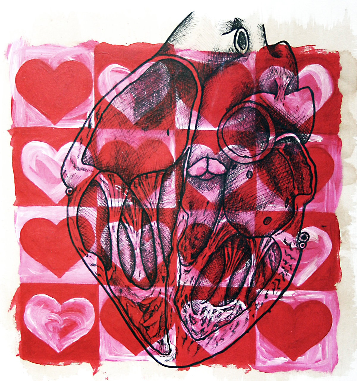 3D ink heart on acrylic hearts