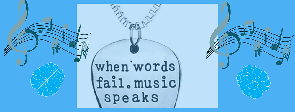 """A guitar pick  with a blue background with the words inscribed """"When words fail. Music Speaks"""""""