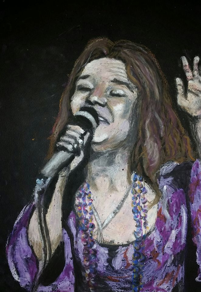 An oil pastel portrait of Janis Joplin wearing a purple top and beaded necklace