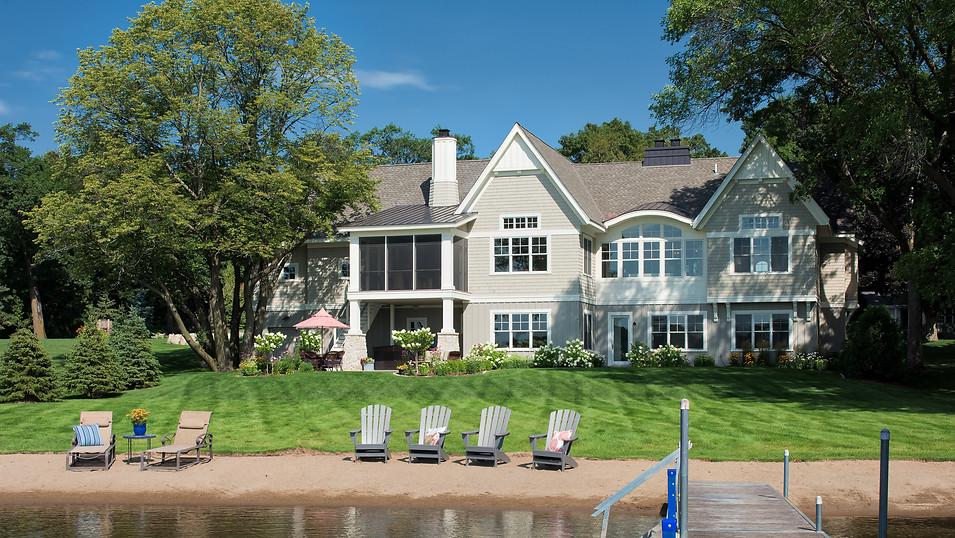A fresh shingled lake cottage