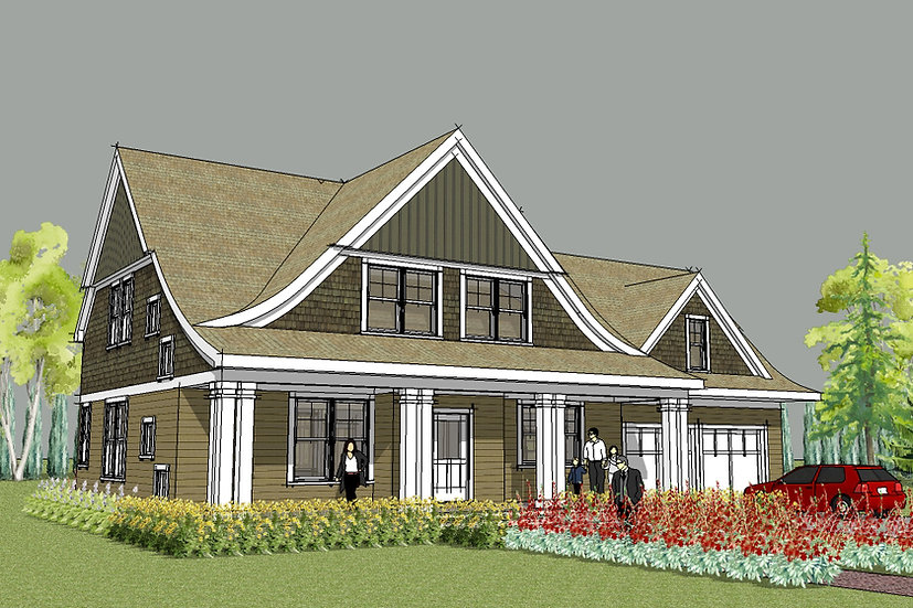 Lake Elmo Arts and Crafts Exterior Image with Front Porch and Curved Roof