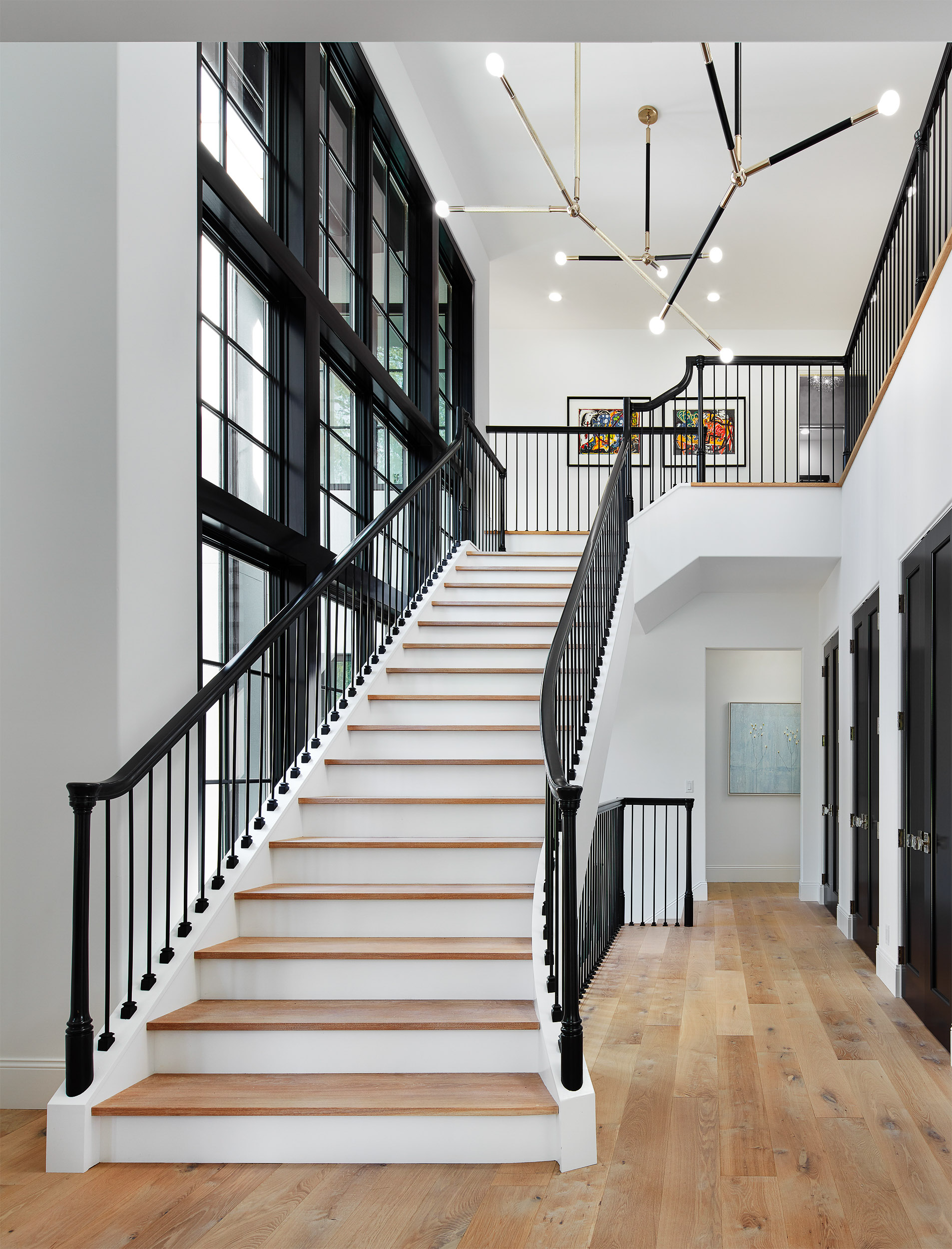 Curved Stair with Window Wall