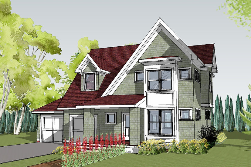 Exterior Rendering of Right Corner Front Elevation