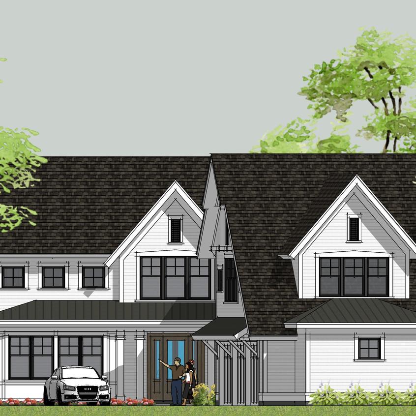 modern farmhouse entry elevation