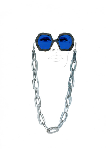 Gucci sunglasses.  Watercolour, paper and acetate.