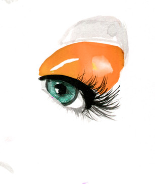 Make up/beauty editorial illustration.  Watercolour and acrylic ink.