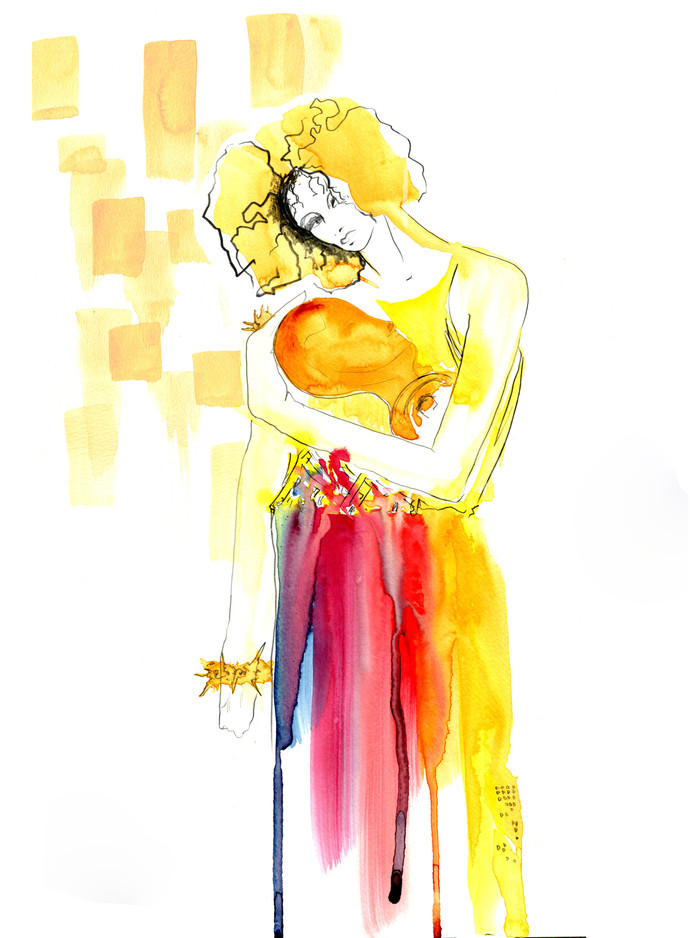Artwork from Gustav Klimt inspired Drawing Cabaret Couture fashion drawing session with deisgns from Genieve Couture and Jewels from Lucky Little Blighters.