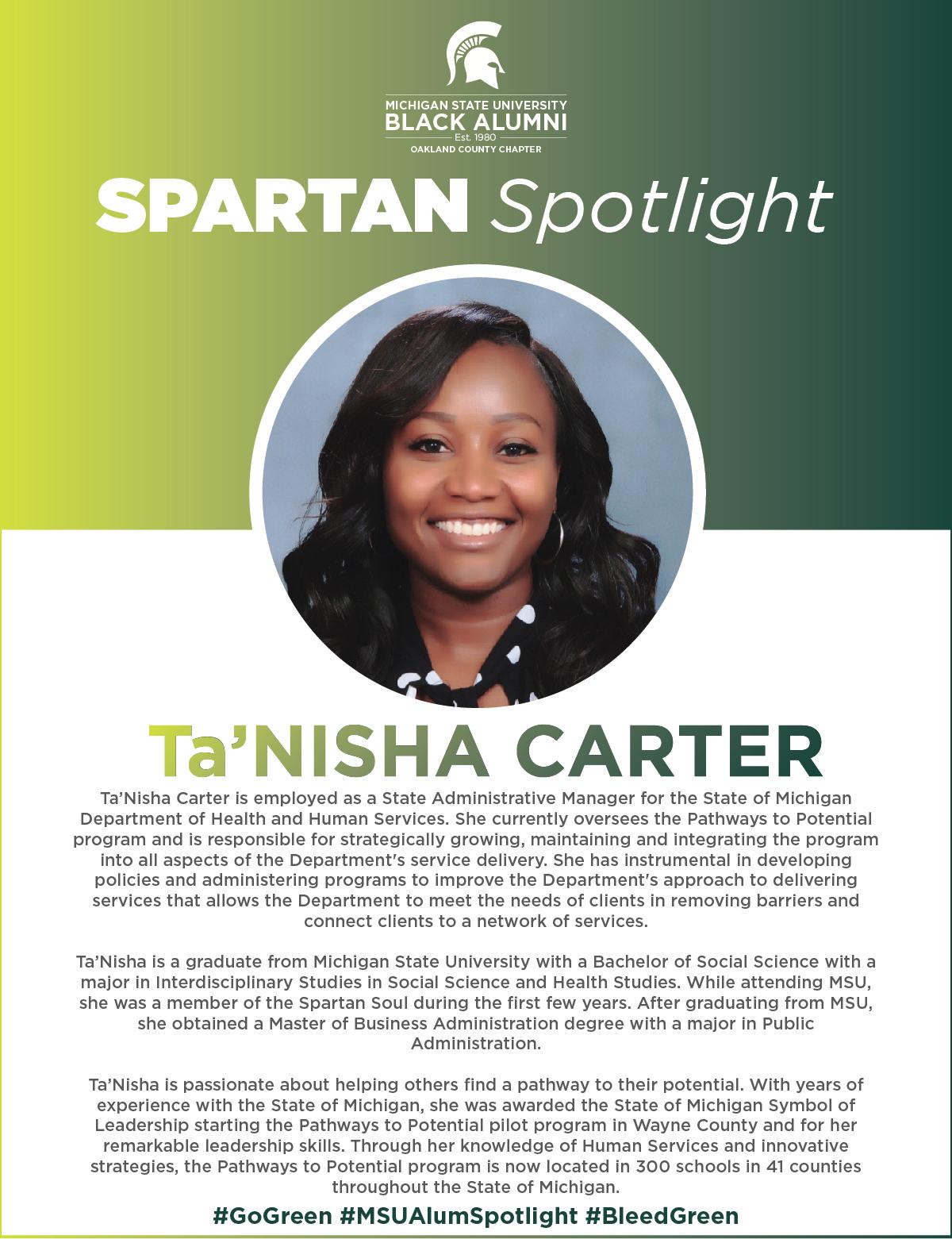 MSUBAOC Spartan Spotlight Ta'Nisha Carte