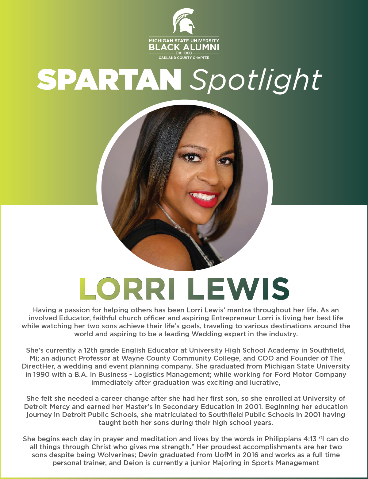 MSUBAOC Spartan Spotlight Lorri Lewis (I