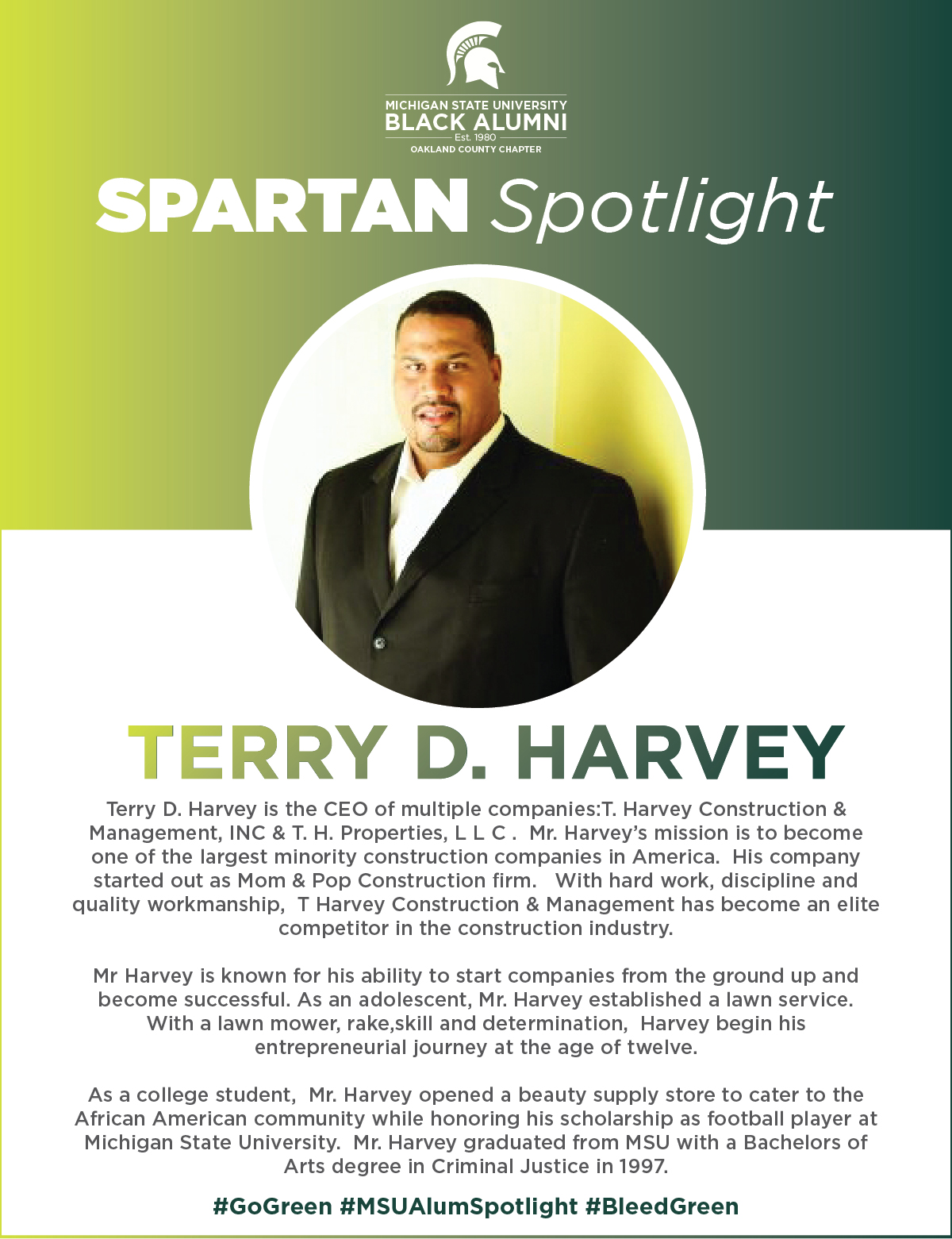 MSUBAOC Spartan Spotlight Terry D