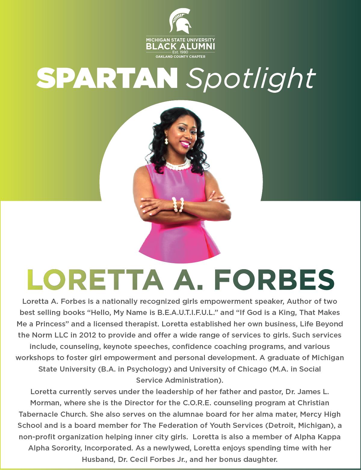MSUBAOC Spartan Spotlight Loretta Forbes