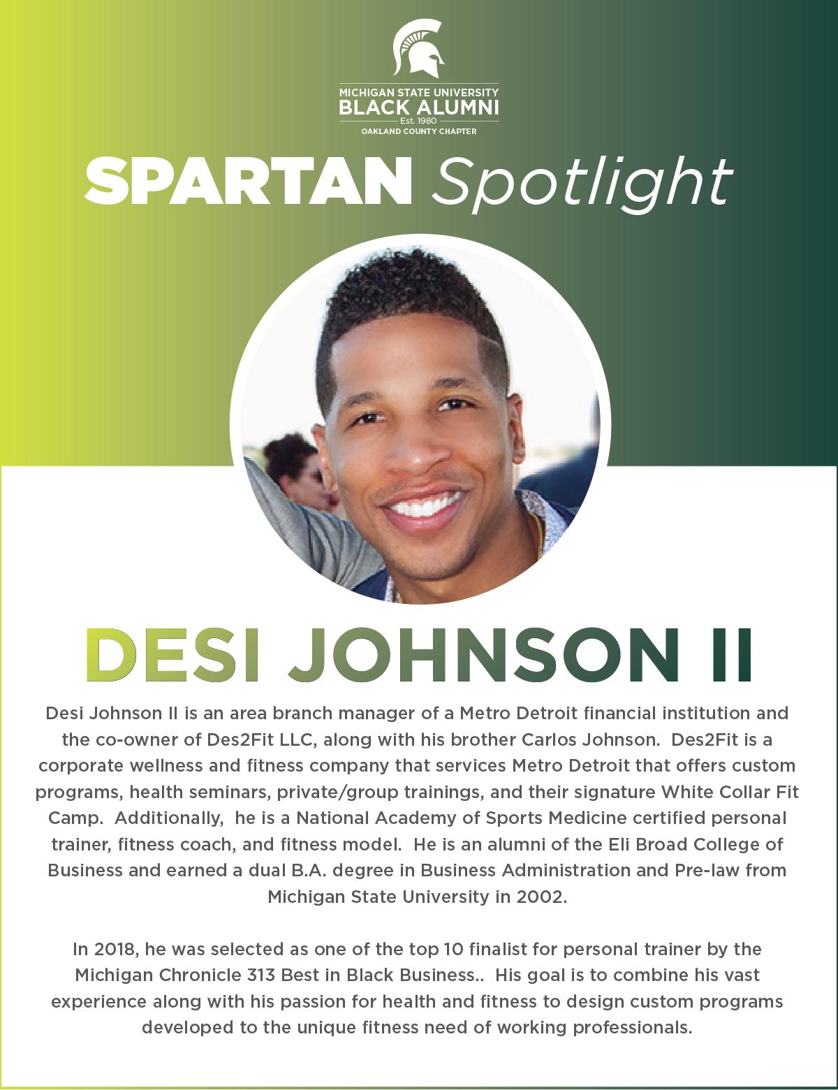 MSUBAOC Spartan Spotlight Desi Johnson I