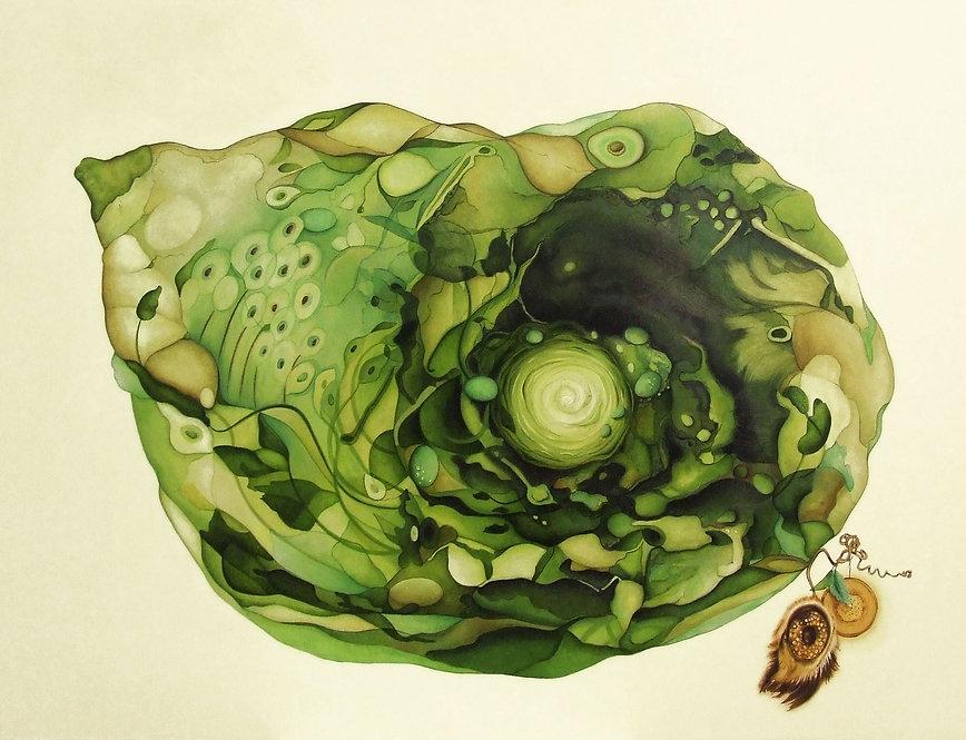 Invitation du jardinier à nuque rose, oeuvre contemporaine semi figurative, médiums mixtes