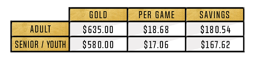 Gold Pricing Adult $635.00 Senior/Youth $580.00