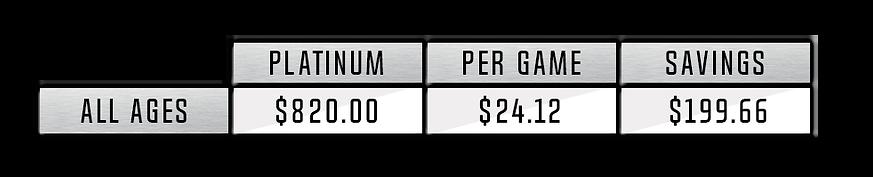 Platinum Price All Ages $820.00