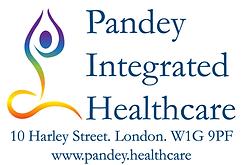 Vikas Pandey. Pandey Integrated Healthcare Logo. Address: 10 Harley Street. London. W1G 9PF. www.pandey.healthcare