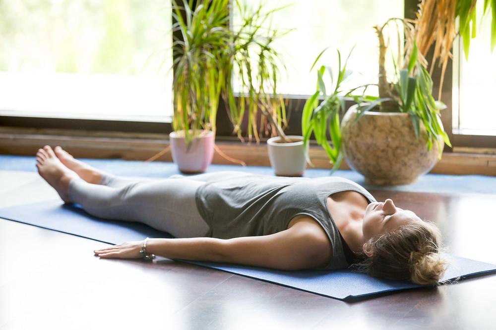 Yoga Nidra on a meditation mat. Photo: Despoina Chatzimichalaki.