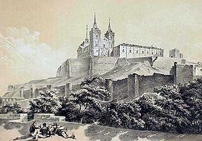 El monasterio de Uclés a mediados del siglo XIX. Grabado de Parcerisa