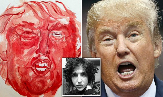 Portland-based artist Sarah Levy uses her menstrual blood and a tampon to paint a portrait of Donald Trump in protest at the presidential candidate's comments.