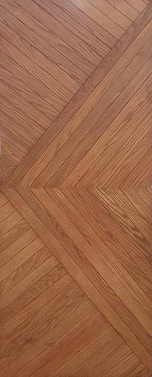 Oak(Mahogany color) Oblique v line Door (ประตูไม้โอ๊คย้อมสีมะฮอกกานี ลายเฉียงวี)