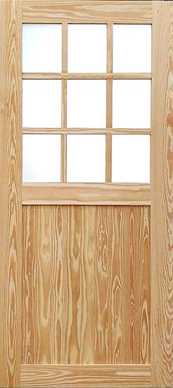 SYP 9slots Frosted glass Door (ประตูไม้สน ติดกระจกฝ้า)