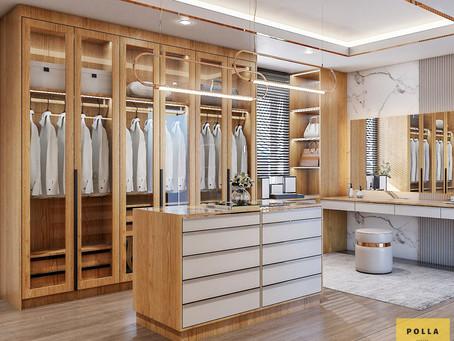 ผลงานออกแบบ ตู้เสื้อผ้าหน้าบานกระจก