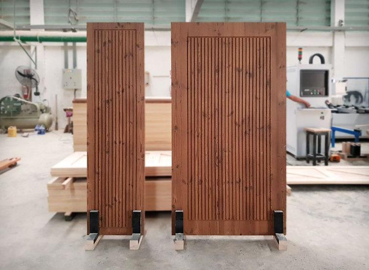 Thermowood DoorStraight line carving (ประตูไม้สนเทอร์โมวูด เดินร่อง)