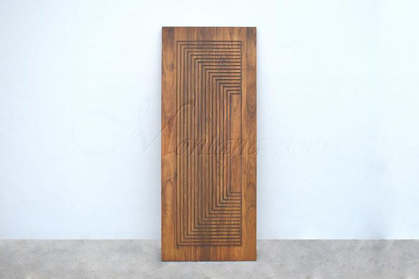 Poplar Door Straight line carving (ประตูไม้ป๊อปล่าร์ เดินร่องย้อมสีสัก)