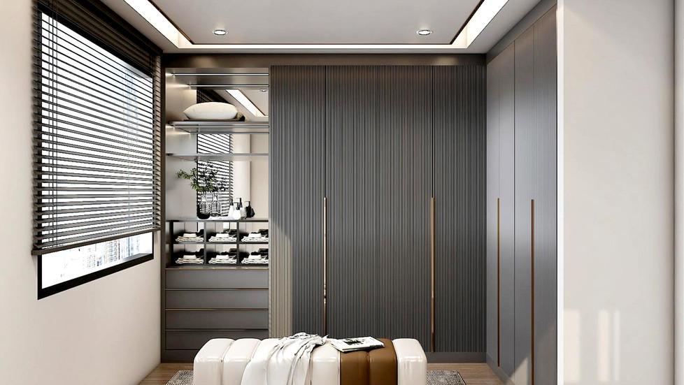 ผลงานออกแบบ ตู้เสื้อผ้าหน้าบาน CNC