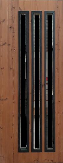 Thermowood 3slots Door (ประตูไม้เทอร์โมวูด คิ้วดำ)