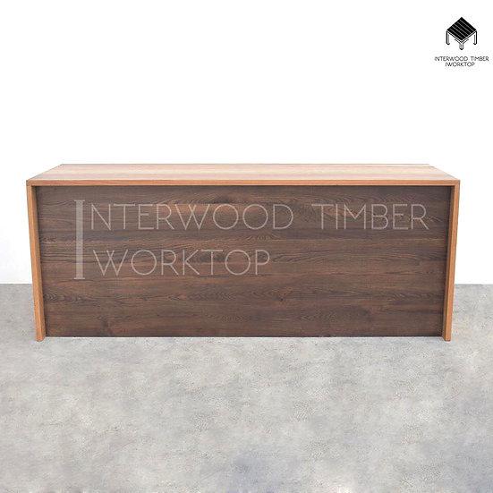 Oak Counter with walnut color (เคาน์เตอร์ไม้โอ๊ค หน้าบานแอชย้อมวอลนัท)