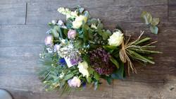 Lilac Sheaf, cream roses