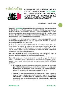 COMUNICAT DE PREMSA TSF - RGG - 8 abril
