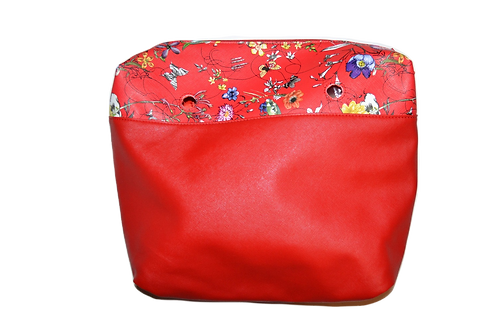 Подкладка красная с цветами экокожа