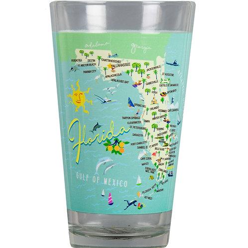 Florida Map Glass