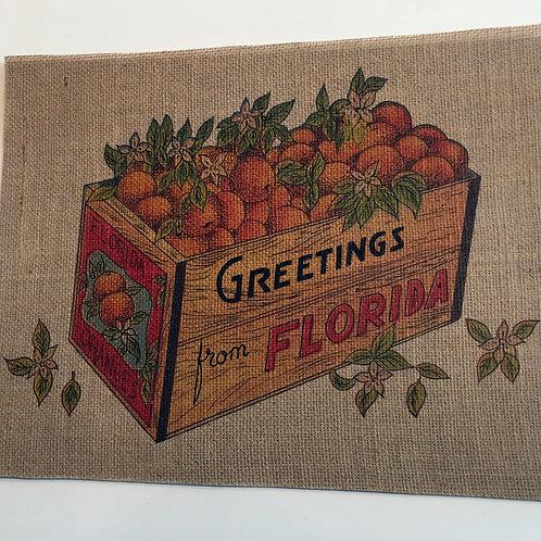 Burlap Greetings From Florida Panel