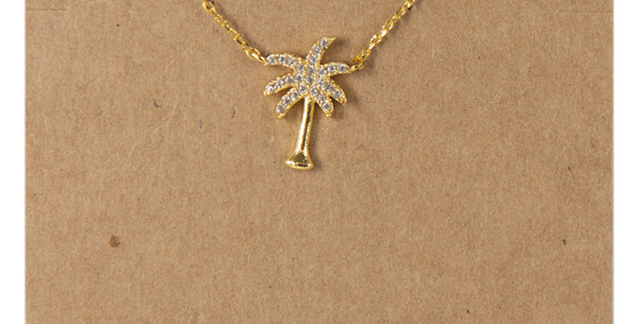 Palm Tree Necklace Gold