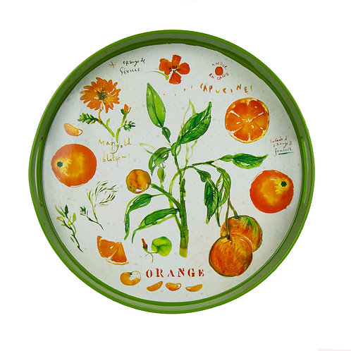 "Orange Fruit & Flowers Tray 15"" Round"