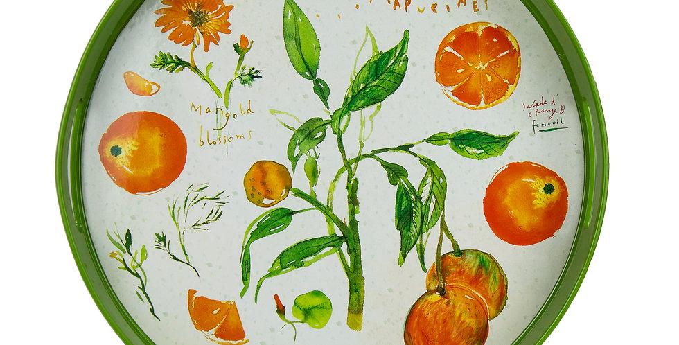 """Orange Fruit & Flowers Tray 15"""" Round"""