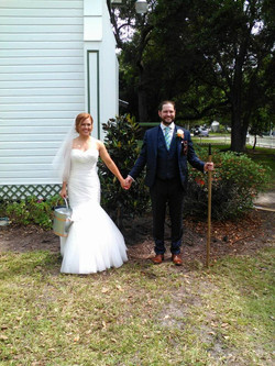 This couple planted a tree to signify the beginning of their marriage