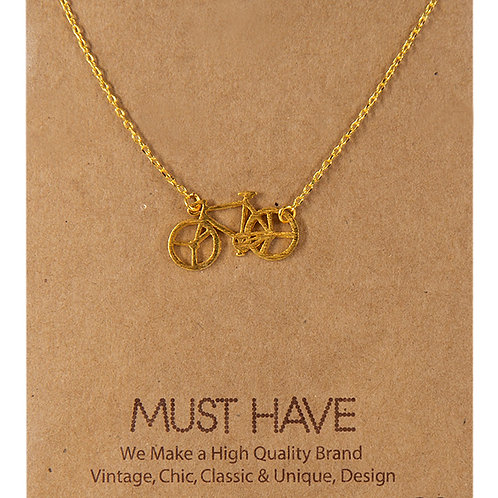 Bicycle Necklace Gold