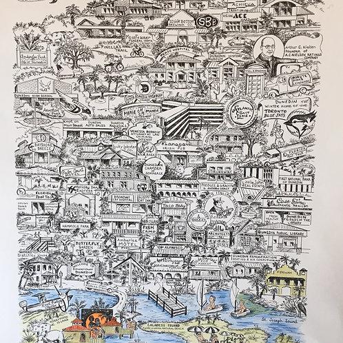 Map of Dunedin Poster - 22 X 17.5