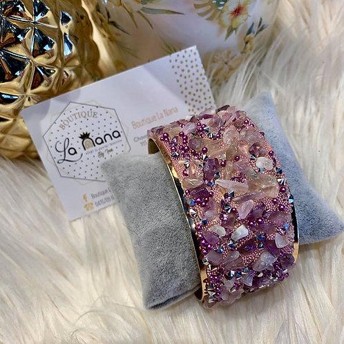 Bracelet Manchette en perles mauves