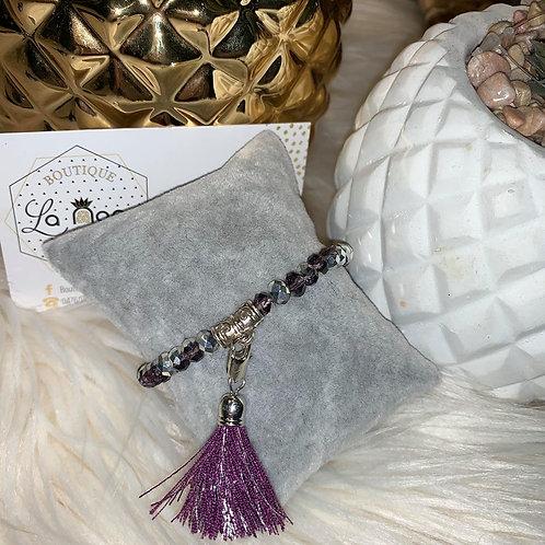 Bracelet Pompon en perles MAUVE