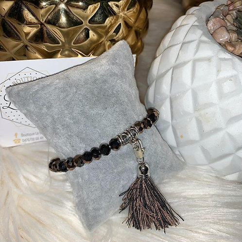Bracelet Pompon en perles BRUN