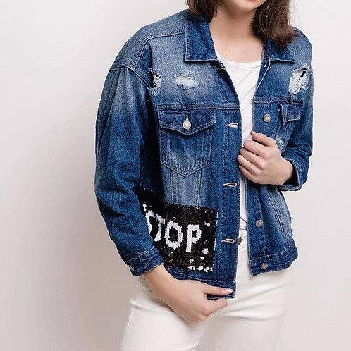 Veste en jeans à sequins STOP