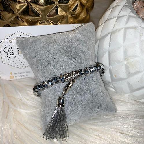 Bracelet Pompon en perles ARGENT