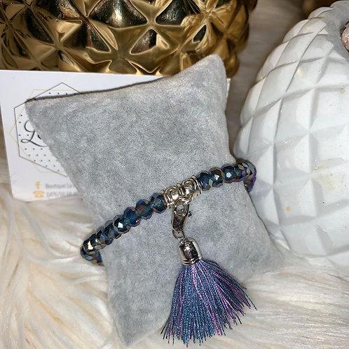 Bracelet Pompon en perles MAUVE & BLEU